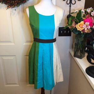 Tabitha Anthropologie ColorBlocked Pleated Dress